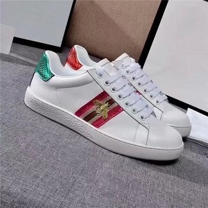 Most Popular White Cowhide Lace Up Unisex Casual Shoes With Bee Embroidery