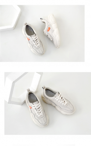 Women White Cow Leather Thick-Soled Brand Designer Trainers Shoes
