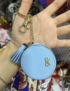 Blue Bag Hanging Aceesory Leather Tassel Handgi...