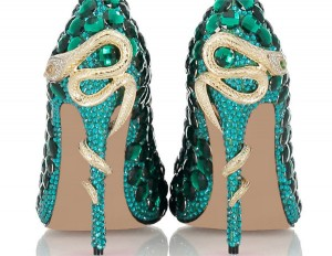 Women Exquisite Green Rhinestone Stiletto Shoes