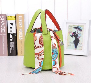 Many Colors Designer Bags Handbags Women Cowhide Basket Bags With Silk Scarf