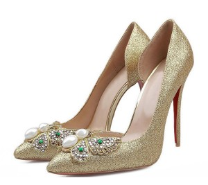 Golden Sequine 11cm High Heel Shoes Women