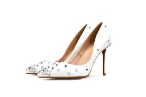 Women White Cowhide Stylish Pretty Rivet Shoes