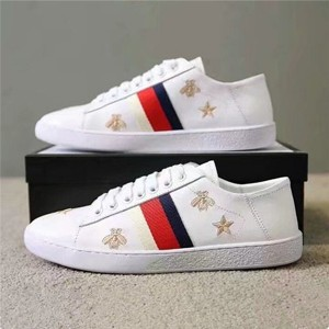 White Real Leather Most Popular Sneakers With Star And Bee Embroidery