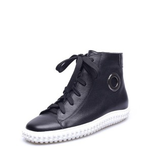 New Fashion Black Cowhide Ladies Sneakers Manufacturer