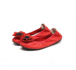 Hot Pink Women Flat Shoes With Rose Flower Size 34 To 43