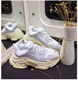 Ins Super Hot Style Women White Cowhide Casual Mesh Shoes
