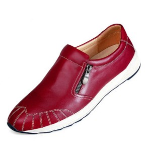 Red Leather Men Loafers Shoes With Zipper