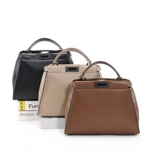 High Quality Lady Casual Felt Tote Bags Cowhide Leather Hand Bag