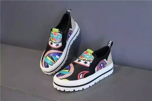 Black Cowhide Colorful Graffiti Designer Shoes