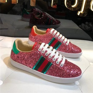 Red Flash Sequins Custom Sneaker For Couples