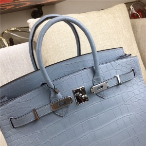 High Quality Famous Brand Grey Alligator Skin Ladies Handbags
