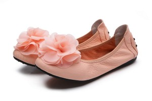Soft Sole Foldable Flat Shoes Fashion Pink Leather Shoes With Beautiful Flower