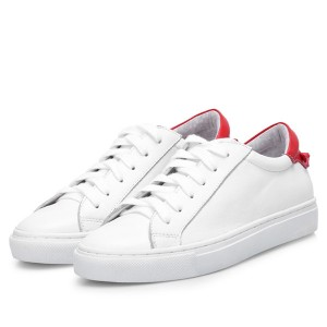 Lady Lace Up Designer Shoes Sneakers White Cowskin