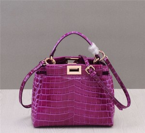 Newest Purple Crocodile Grain Leather Branded Designer Bags Ladies Shoulder Bag