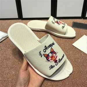 OEM Made Beach Slippers Whte Cowskin Cat Printi...