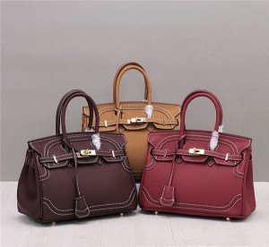 High Quality Classical Handbags Fashion Lady Togo Leather Birkin Bag With Lace Edge
