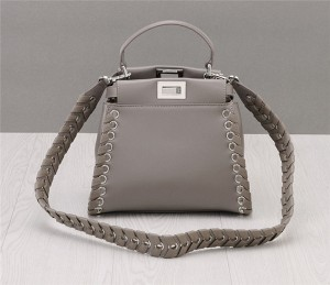 OEM Made Grey Braid Leather Strap Designer Bags Fashion Ladies Bag