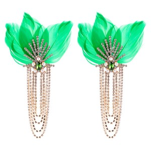 Multi-Layer Diamond Earring Green Feather Earring Female Long Earring Bohemian Earrings