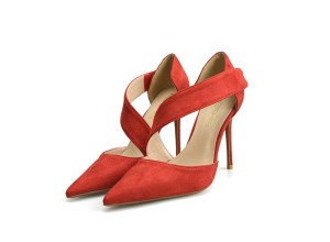 Red Suede Fine Heel Fashion Sexy Sandals With Ankle Bandage Strap