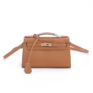 Custom Made Clutch Bags With Long Shoulder Strap Kelly Bags Tan Leather Epsom