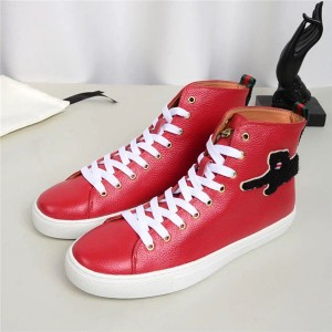 Most Popular cowhide Men Sneakers With Letter Embroidery