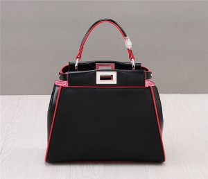 Fashion Ladies Bag Black Cowhide Leather Tote Bag Black
