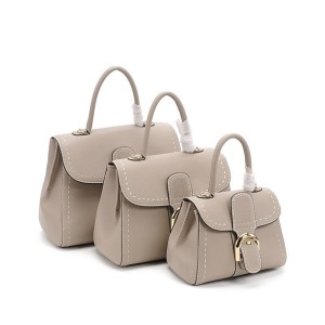 High Quality Fashion Ladies Handbags Grey Natural Leather Bags
