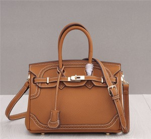 High Quality Lace Carved Leather Bags Ladies Birkin Bag Tan Leather