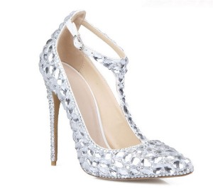 Silver White Rhinestone Ladies Party Shoes High Heels