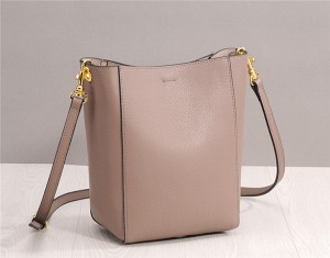 High Quality Black Cowhide Leather Bucket Bag For Woman Shoulder Bag
