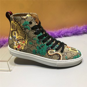 PVC Fabric Ankle Sneakers with Colorful Bengal Tiger Printed