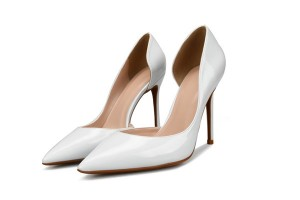 Lady Patent Leather Stiletto Sexy Heels White