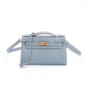 OEM Light Blue Cowhide Leather Bags Handbags Lady Mini Tote Bag With Long Shoulder Strap