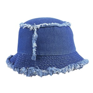 Unisex Frayed Washed Bucket Hat Foldable Cotton Fisherman Cap Brim Visors Sun Hat