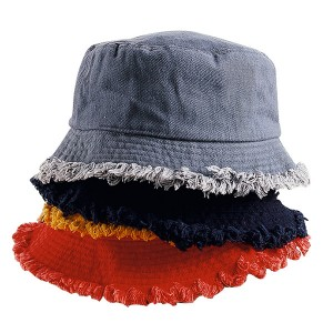 Wholesale Custom Blank Distress Washed Cotton Denim Bucket Hat