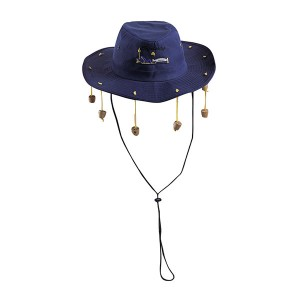 Navy Blue Cowboy Hat with Acessory
