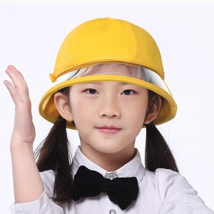 Yellow popular kids Removable PVC face shield bucket hat with Protective Face Mask