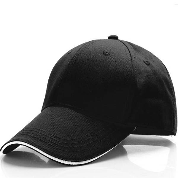6 panel baseball cap with sandwich visor and buckle ring at back