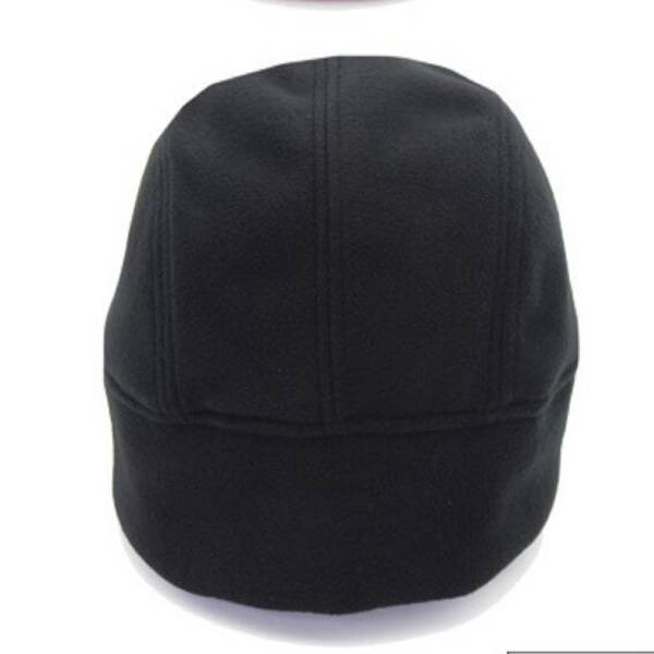 Black warm polar fleece helmet cap