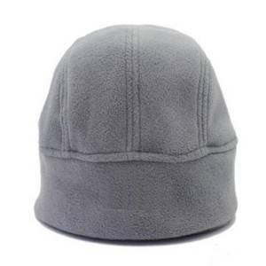 gray warm polar fleece helmet cap