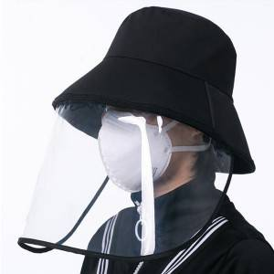 Removable PVC face shield black bucket hat with Protective Face Mask
