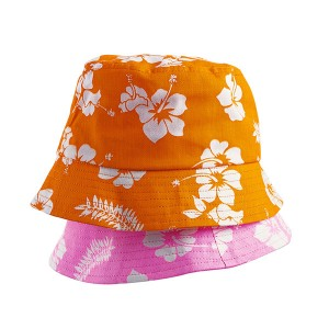 Custom Cotton Print Orange Bucket Hat