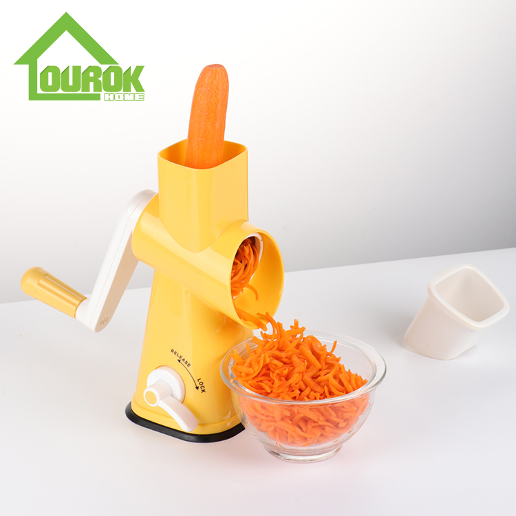 Round multi vegetable nut onin carrot potato slicer cutter grater with 3 blades C325 (Yellow) Featured Image
