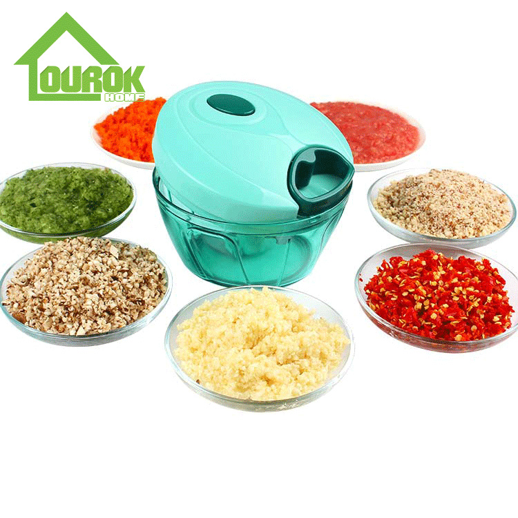 Ourok top rated plastic manual mini food and vegetable chopper for kitchen A008(Blue) Featured Image