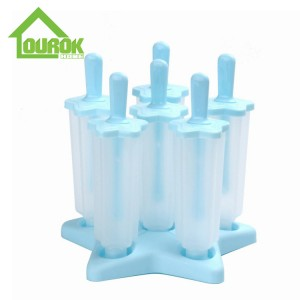 Amazon hot selling plastic popsicle ice cream mold set 0f 6  H113