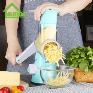 Round multi vegetable nut onin carrot potato slicer cutter grater with 3 blades C315 (Blue)