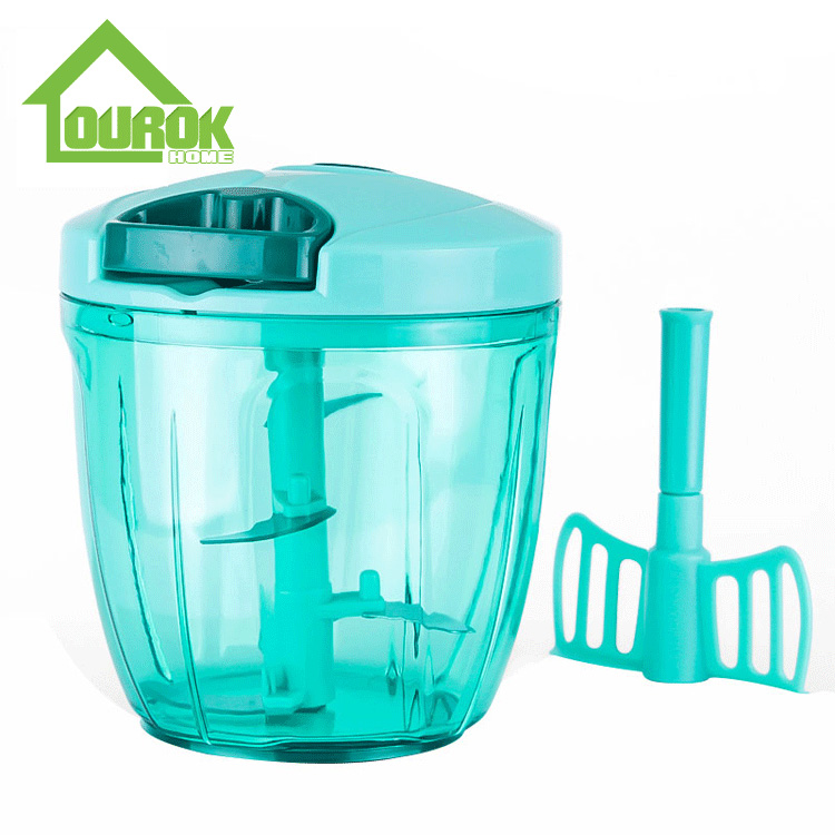 Plastic Hand Food Chopper and Slicer for Vegetable A008-2(Blue) Featured Image