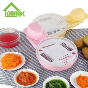 Plastic manual mandolin vegetable slicer grater baby food processor  for home use  C319