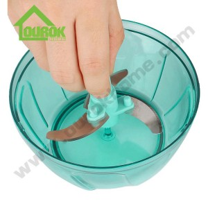 Ourok top rated plastic manual mini food and vegetable chopper for kitchen A008(Blue)